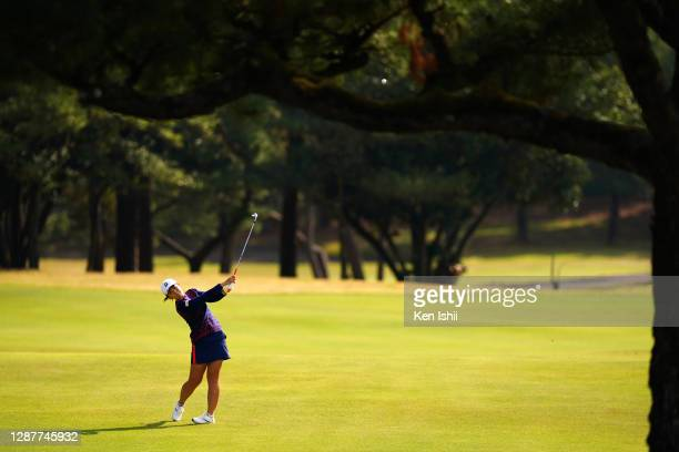 Ayaka Watanabe of Japan hits her second shot on the 7th hole during the first round of the JLPGA Tour Championship Ricoh Cup at the Miyazaki Country...