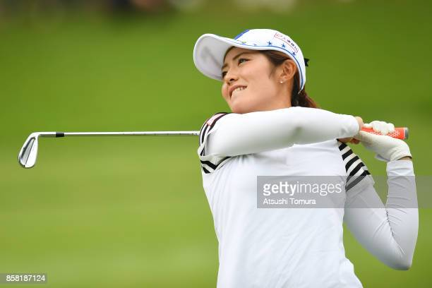 Ayaka Watanabe of Japan hits her second shot on the 8th hole during the first round of Stanley Ladies Golf Tournament at the Tomei Country Club on...