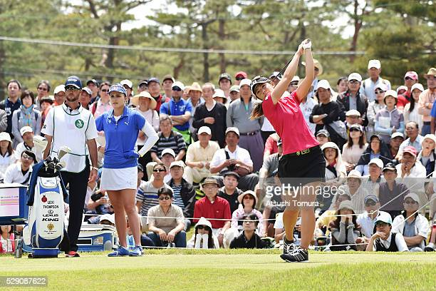 Ayaka Watanabe of Japan hits her tee shot on the 10th hole during the World Ladies Championship Salonpas Cup at the Ibaraki Golf Club on May 8 2016...