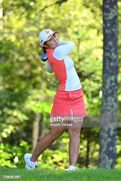 Ayaka Watanabe of Japan hits her tee shot on the 11th hole during the second round of the NEC Karuizawa 72 Golf Tournament at the Karuizawa 72 Golf...