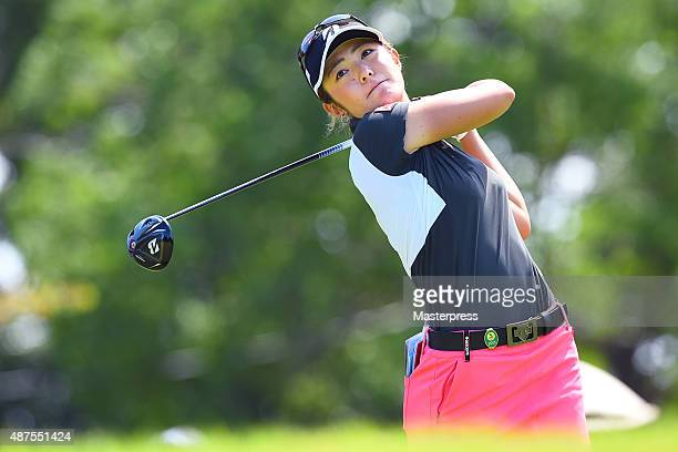 Ayaka Watanabe of Japan hits her tee shot on the 11th hole during the first round of the 48th LPGA Championship Konica Minolta Cup 2015 at the...