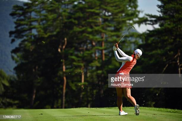 Ayaka Watanabe of Japan hits her tee shot on the 12th hole during the second round of the NEC Karuizawa 72 Golf Tournament at the Karuizawa 72 Golf...
