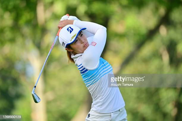 Ayaka Watanabe of Japan hits her tee shot on the 12th hole during the first round of the Nitori Ladies Golf Tournament at the Otaru Country Club on...