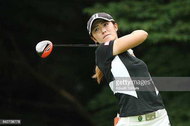 Ayaka Watanabe of Japan hits her tee shot on the 14th hole during the second round of the Earth Mondamin Cup at the Camellia Hills Country Club on...