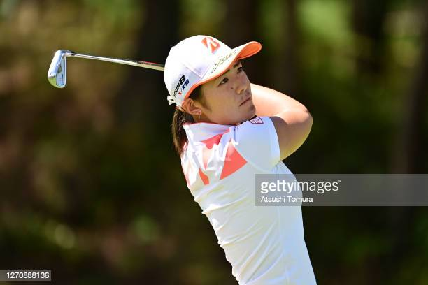 Ayaka Watanabe of Japan hits her tee shot on the 15th hole during the final round of the GOLF5 Ladies Tournament at the GOLF5 Country Mizunami Course...