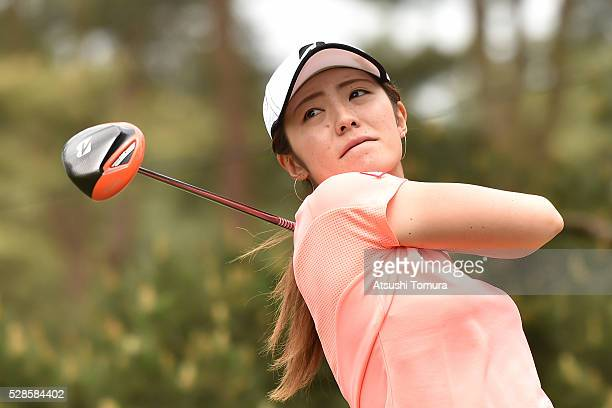Ayaka Watanabe of Japan hits her tee shot on the 15th hole during the second round of the World Ladies Championship Salonpas Cup at the Ibaraki Golf...