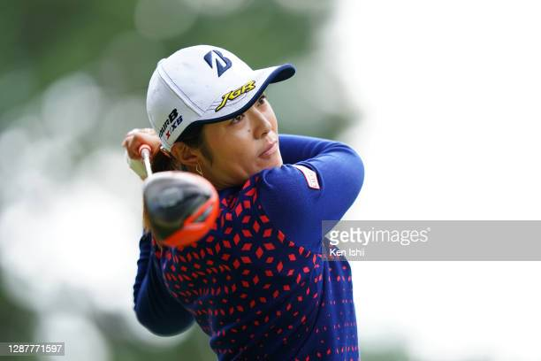 Ayaka Watanabe of Japan hits her tee shot on the 18th hole during the first round of the JLPGA Tour Championship Ricoh Cup at the Miyazaki Country...