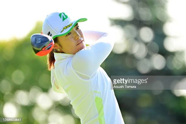 Ayaka Watanabe of Japan hits her tee shot on the 1st hole during a practice round ahead of the Nitori Ladies Golf Tournament at the Otaru Country...