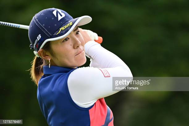 Ayaka Watanabe of Japan hits her tee shot on the 1st hole during the first round of the Descente Ladies Tokai Classic at the Shin Minami Aichi...