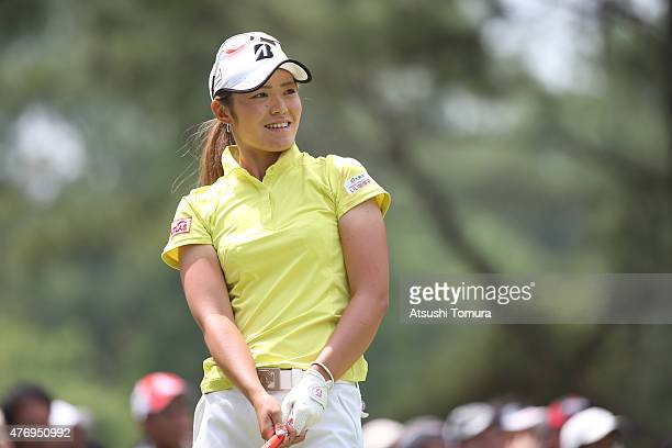 Ayaka Watanabe of Japan hits her tee shot on the 1st hole during the third round of the Suntory Ladies Open at the Rokko Kokusai Golf Club on June 13...