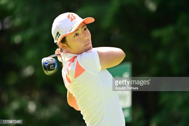 Ayaka Watanabe of Japan hits her tee shot on the 2nd hole during the final round of the GOLF5 Ladies Tournament at the GOLF5 Country Mizunami Course...