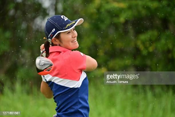 Ayaka Watanabe of Japan hits her tee shot on the 2nd hole during the second round of the JLPGA Championship Konica Minolta Cup at the JFE Setonaikai...