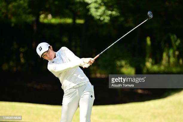 Ayaka Watanabe of Japan hits her tee shot on the 2nd hole during the final round of the Fujitsu Ladies 2020 at the Tokyu Seven Hundred Club on...