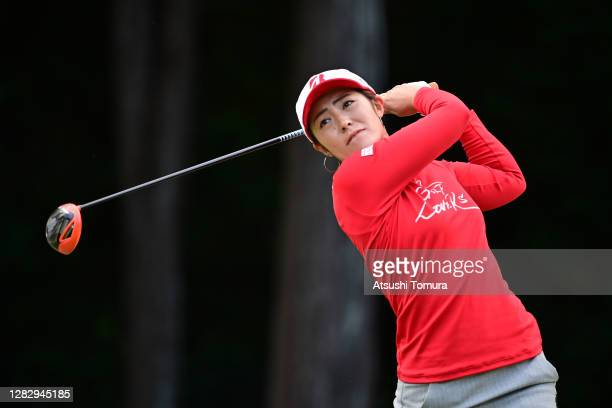 Ayaka Watanabe of Japan hits her tee shot on the 2nd hole during the first round of the Hisako Higuchi Mitsubishi Electric Ladies Golf Tournament at...