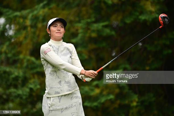Ayaka Watanabe of Japan hits her tee shot on the 2nd hole during the first round of the TOTO Japan Classic at the Taiheiyo Club Minori Course on...