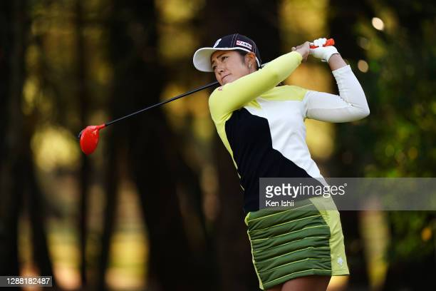 Ayaka Watanabe of Japan hits her tee shot on the 2nd hole during the third round of the JLPGA Tour Championship Ricoh Cup at the Miyazaki Country...
