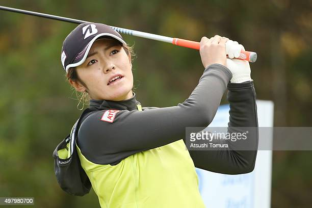 Ayaka Watanabe of Japan hits her tee shot on the 2nd hole during the second round of the Daio Paper Elleair Ladies Open 2015 at the Itsuurateien...