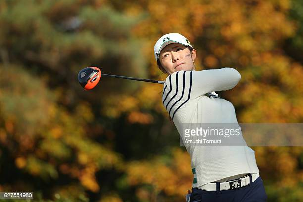Ayaka Watanabe of Japan hits her tee shot on the 2nd hole during the final round of the THE QUEENS Presented By KOWA at the Miyoshi Country Club West...