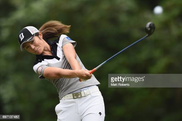 Ayaka Watanabe of Japan hits her tee shot on the 2nd hole during the final round of the Nichirei Ladies at the on June 18 2017 in Chiba Japan