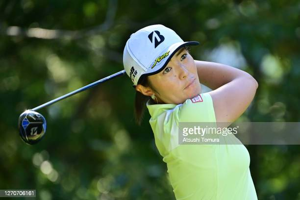 Ayaka Watanabe of Japan hits her tee shot on the 3rd hole during the second round of the GOLF5 Ladies Tournament at the GOLF5 Country Mizunami Course...