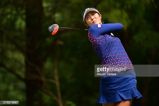 Ayaka Watanabe of Japan hits her tee shot on the 3rd hole during the final round of the Japan Women's Open Golf Championship at the Classic Golf Club...