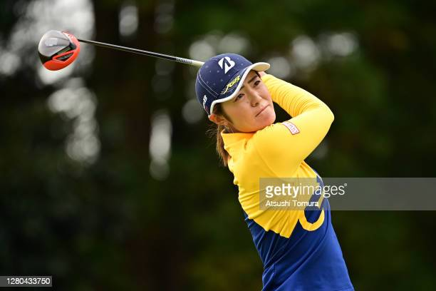 Ayaka Watanabe of Japan hits her tee shot on the 3rd hole during the first round of the Fujitsu Ladies 2020 at the Tokyu Seven Hundred Club on...