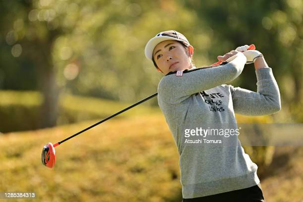 Ayaka Watanabe of Japan hits her tee shot on the 3rd hole during the first round of the Ito-En Ladies Golf Tournament at the Great Island Club on...