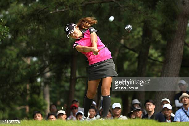 Ayaka Watanabe of Japan hits her tee shot on the 3rd hole during the final round of Japan Women's Open 2015 at the Katayamazu Golf Culb on October 4...
