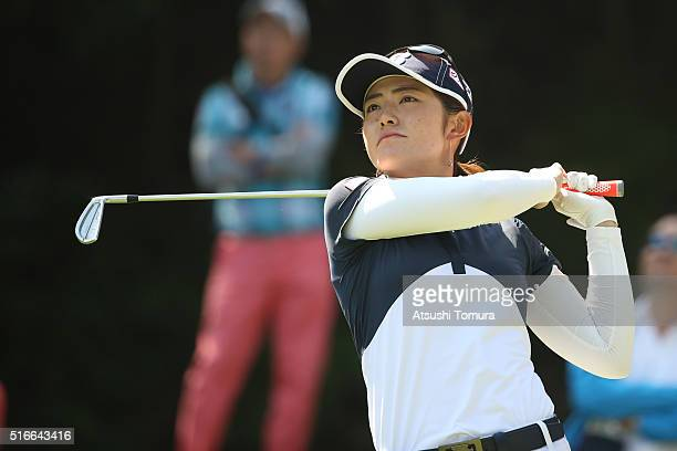 Ayaka Watanabe of Japan hits her tee shot on the 3rd hole during the T-Point Ladies Golf Tournament at the Wakagi Golf Club on March 20, 2016 in...