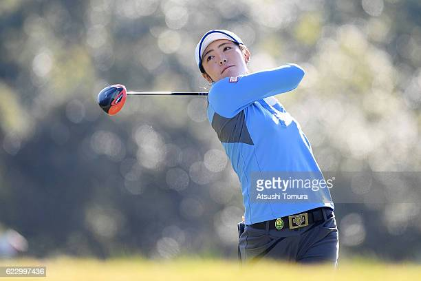 Ayaka Watanabe of Japan hits her tee shot on the 3rd hole during the final round of the Itoen Ladies Golf Tournament 2016 at the Great Island Club on...