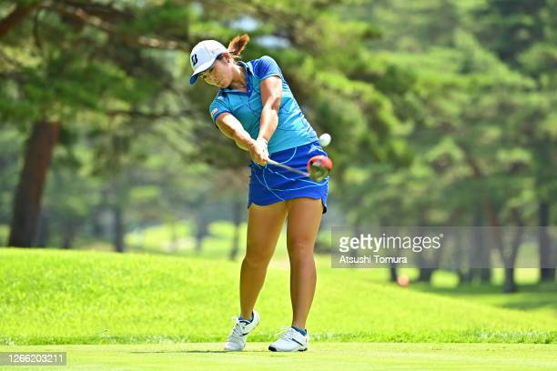 Ayaka Watanabe of Japan hits her tee shot on the 4th hole during the first round of the NEC Karuizawa 72 Golf Tournament at the Karuizawa 72 Golf...