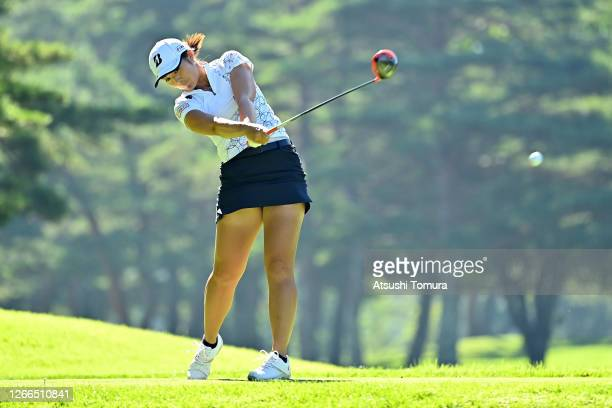 Ayaka Watanabe of Japan hits her tee shot on the 4th hole during the final round of the NEC Karuizawa 72 Golf Tournament at the Karuizawa 72 Golf...