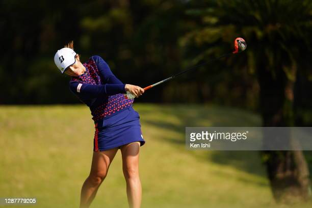 Ayaka Watanabe of Japan hits her tee shot on the 4th hole during the first round of the JLPGA Tour Championship Ricoh Cup at the Miyazaki Country...