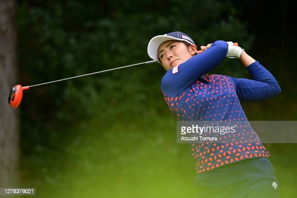 Ayaka Watanabe of Japan hits her tee shot on the 5th hole during the final round of the Japan Women's Open Golf Championship at the Classic Golf Club...