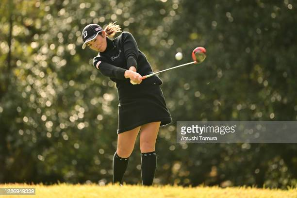 Ayaka Watanabe of Japan hits her tee shot on the 5th hole during the final round of the Daio Paper Elleair Ladies Open at the Elleair Golf Club...