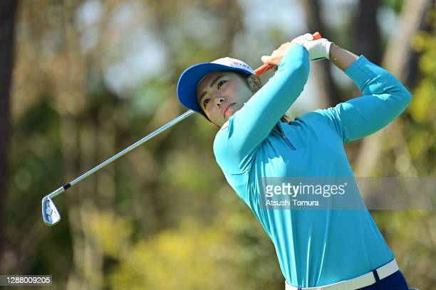 Ayaka Watanabe of Japan hits her tee shot on the 5th hole during the second round of the JLPGA Tour Championship Ricoh Cup at the Miyazaki Country...