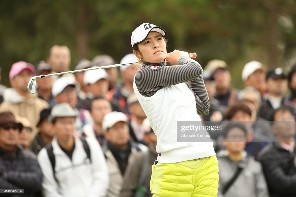 Ayaka Watanabe of Japan hits her tee shot on the 5th hole during the final round of the Daio Paper Elleair Ladies Open 2015 at the Itsuura-teien Country Club on November 22, 2015 in Iwaki, Japan.