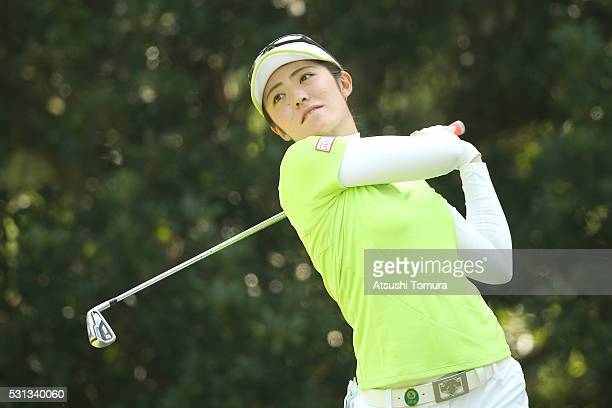 Ayaka Watanabe of Japan hits her tee shot on the 5th hole during the second round of the HokennoMadoguchi Ladies at the Fukuoka Country Club Ishino...