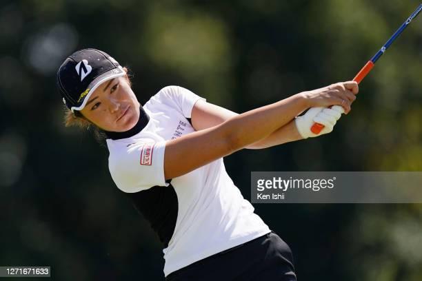 Ayaka Watanabe of Japan hits her tee shot on the 6th hole during the first round of the JLPGA Championship Konica Minolta Cup at the JFE Setonaikai...