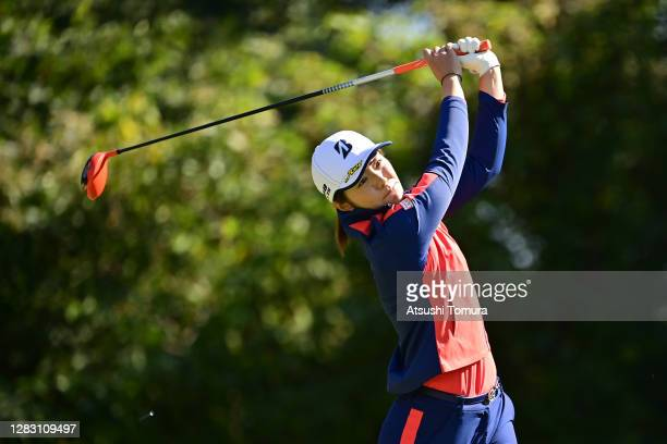 Ayaka Watanabe of Japan hits her tee shot on the 6th hole during the second round of the Hisako Higuchi Mitsubishi Electric Ladies Golf Tournament at...