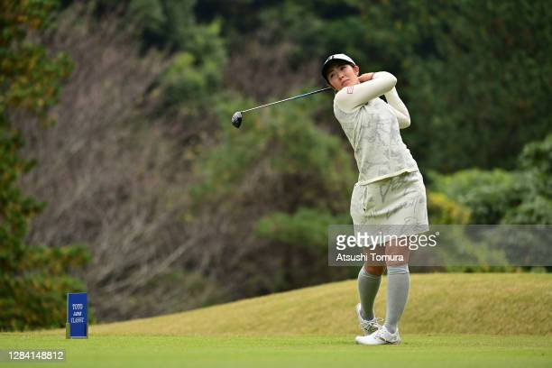 Ayaka Watanabe of Japan hits her tee shot on the 6th hole during the first round of the TOTO Japan Classic at the Taiheiyo Club Minori Course on...