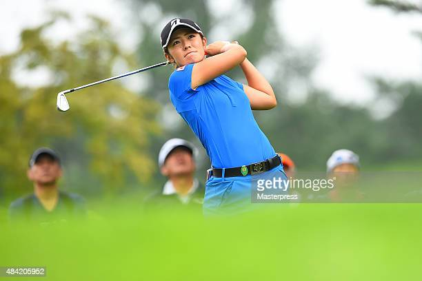 Ayaka Watanabe of Japan hits her tee shot on the 8th hole during the third round of the NEC Karuizawa 72 Golf Tournament 2015 at the Karuizawa 72...