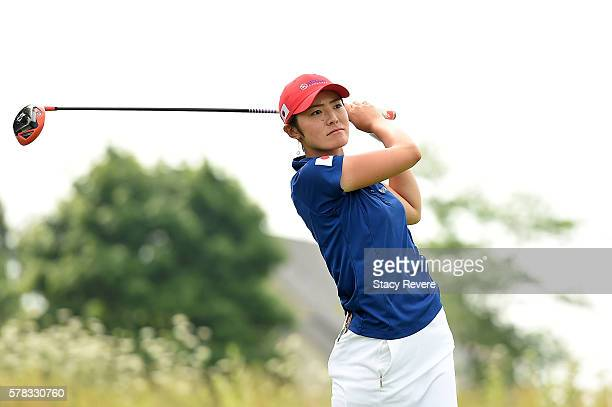Ayaka Watanabe of Japan hits her tee shot on the fourth hole during the fourball session of the 2016 UL International Crown at the Merit Club on July...