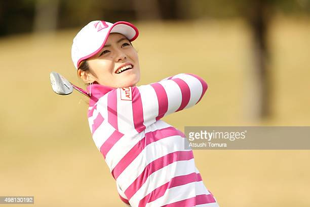 Ayaka Watanabe of Japan hits her third shot on the 16th hole during the third round of the Daio Paper Elleair Ladies Open 2015 at the Itsuurateien...