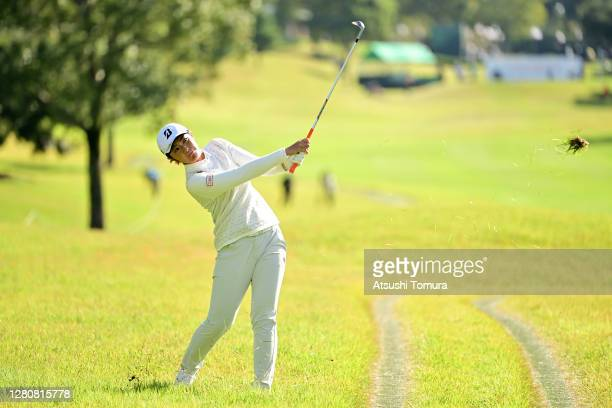 Ayaka Watanabe of Japan hits her third shot on the 1st hole during the final round of the Fujitsu Ladies 2020 at the Tokyu Seven Hundred Club on...