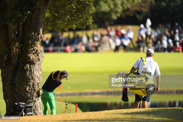 Ayaka Watanabe of Japan hits her third shot on the 9th hole during the final round of the TOTO Japan Classics 2017 at the Taiheiyo Club Minori Course...