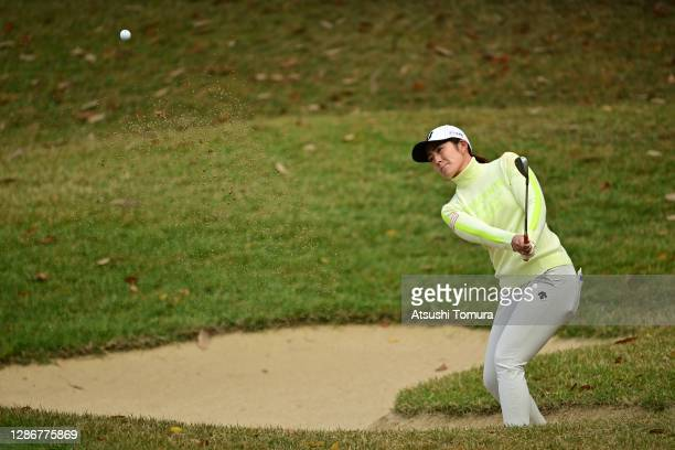 Ayaka Watanabe of Japan hits out from a bunker on the 3rd hole during the third round of the Daio Paper Elleair Ladies Open at the Elleair Golf Club...