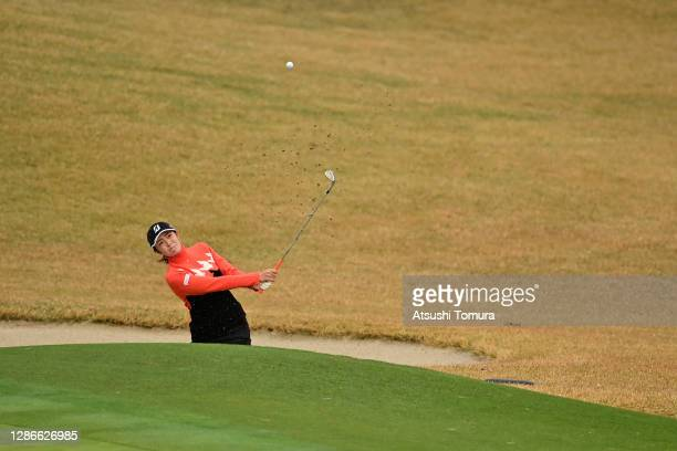Ayaka Watanabe of Japan hits out from a bunker on the 9th hole during the second round of the Daio Paper Elleair Ladies Open at the Elleair Golf Club...