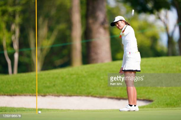 Ayaka Watanabe of Japan holes the winning putt on the playoff first hole on the 18th green during the final round of the Earth Mondamin Cup at the...