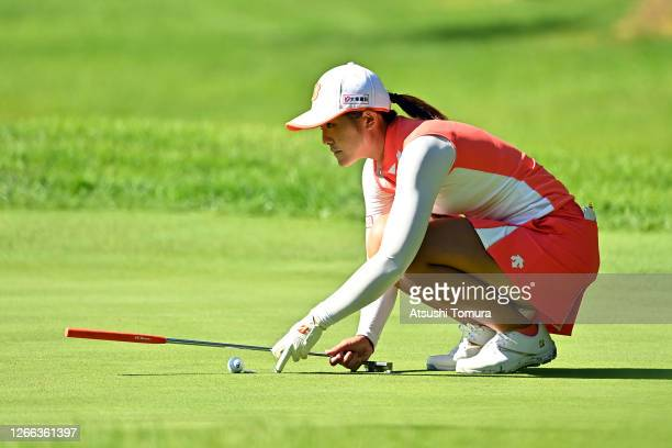 Ayaka Watanabe of Japan lines up a putt on the 10th green during the second round of the NEC Karuizawa 72 Golf Tournament at the Karuizawa 72 Golf...
